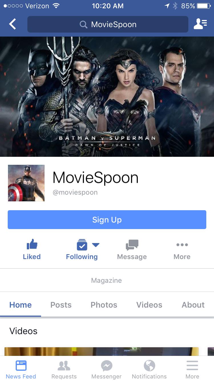 Facebook MovieSpoon.com